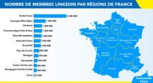 nombre de membres LinkedIn en France par région en 2021